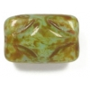 Glass Bead Rectangle 12x8mm Green Marble Strung